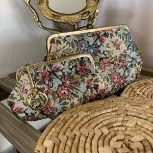 Set of 2 Matching Vintage Floral Coin Purses